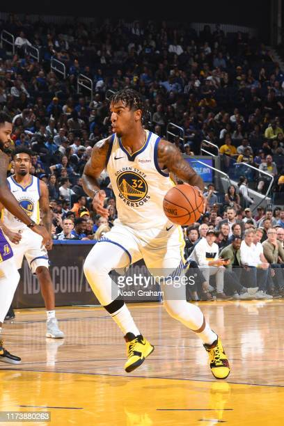 Marquese Chriss of the Golden State Warriors handles the ball against the Los Angeles Lakers during a preseason game on October 5 2019 at Chase...