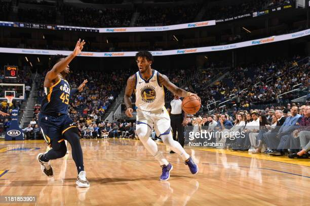 Marquese Chriss of the Golden State Warriors handles the ball against the Utah Jazz on November 11 2019 at Chase Center in San Francisco California...