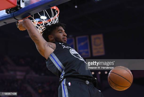 Marquese Chriss of the Golden State Warriors slam dunks against the Houston Rockets during the second half of an NBA basketball game at Chase Center...