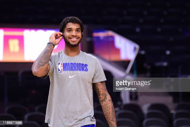 Marquese Chriss of the Golden State Warriors smiles before the game against the New Orleans Pelicans on December 20 2019 at Chase Center in San...