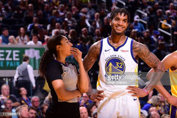Marquese Chriss of the Golden State Warriors smiles during a game against the Los Angeles Lakers during a preseason game on October 5 2019 at Chase...