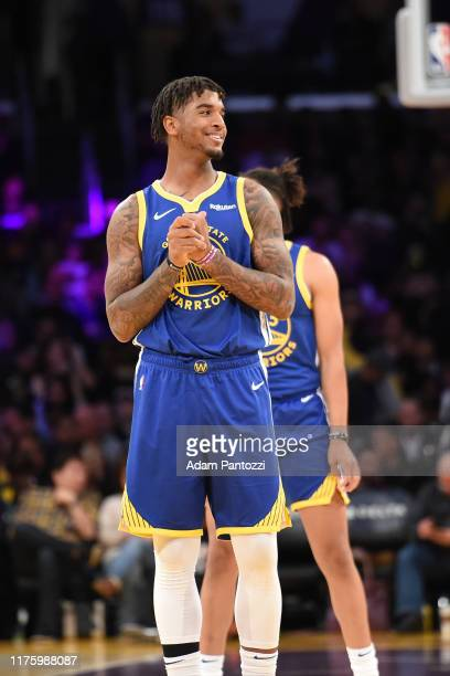 Marquese Chriss of the Golden State Warriors smiles during a preseason game against the Los Angeles Lakers on October 14 2019 at STAPLES Center in...
