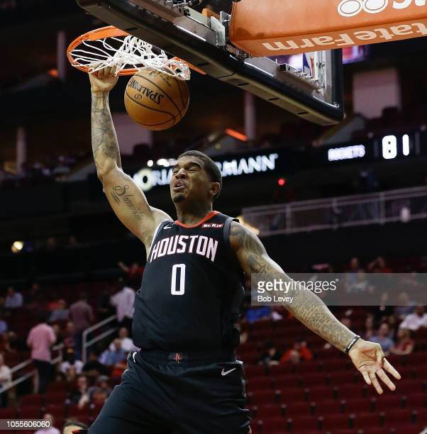 Marquese Chriss of the Houston Rockets dunks during the fourth quarter Portland Trail Blazers at Toyota Center on October 30 2018 in Houston Texas...
