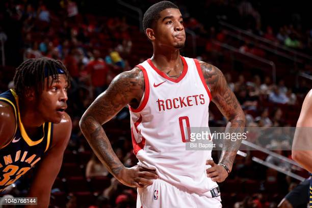 Marquese Chriss of the Houston Rockets looks on during a preseason game against the Indiana Pacers on October 4 2018 at Toyota Center in Houston...
