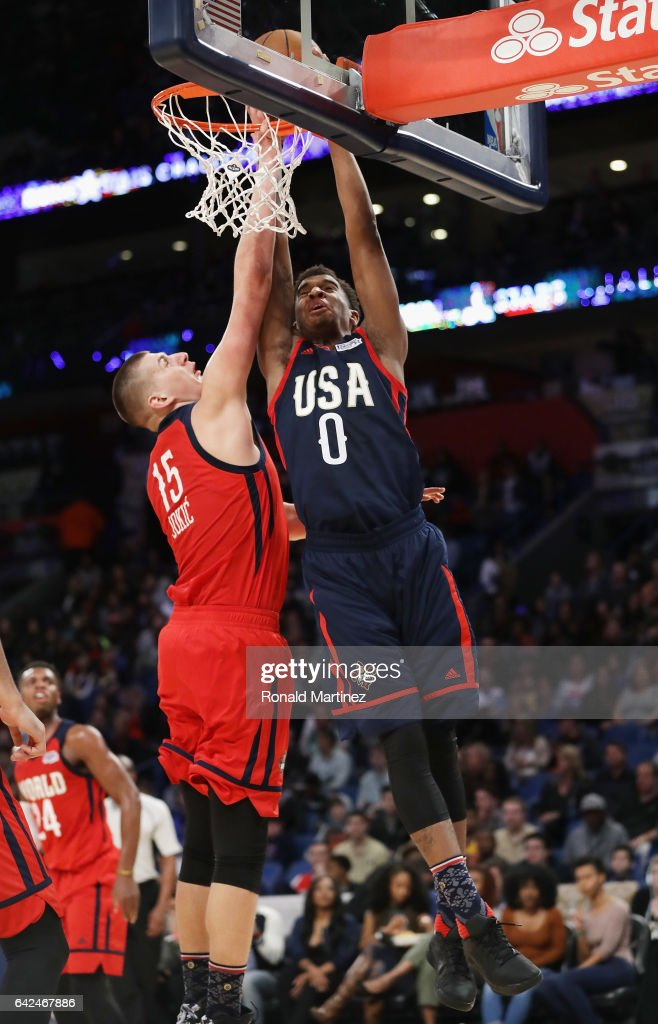 Marquese Chriss #0 of the Phoenix Suns attempts to dunk the ball against Nikola Jokic #15 of the Denver Nuggets in the second half of the 2017 BBVA Compass Rising Stars Challenge at Smoothie King Center on February 17, 2017 in New Orleans, Louisiana.