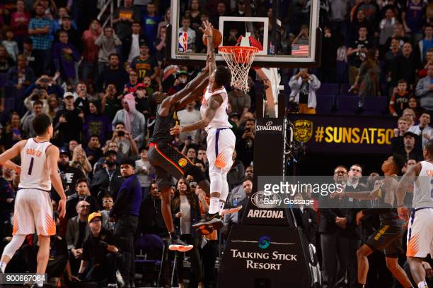 Marquese Chriss of the Phoenix Suns blocks shot to against against the Atlanta Hawks on January 2 2018 at Talking Stick Resort Arena in Phoenix...