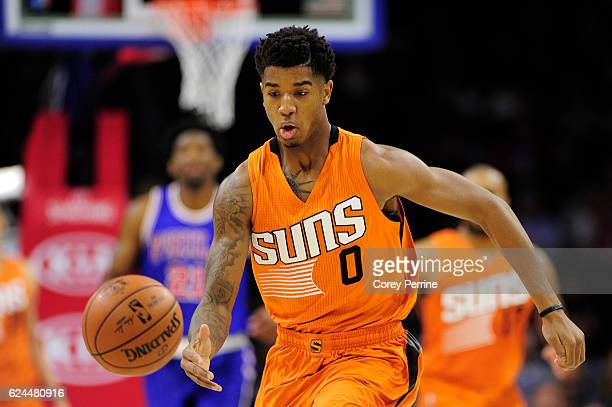 Marquese Chriss of the Phoenix Suns chases a loose ball during the first quarter against the Philadelphia 76ers at the Wells Fargo Center on November...
