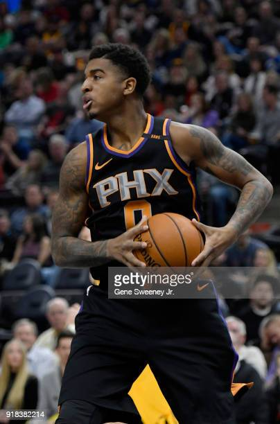Marquese Chriss of the Phoenix Suns controls the ball during the first half of a game against the Utah Jazz at Vivint Smart Home Arena on February 14...