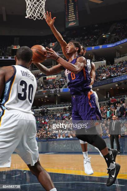 Marquese Chriss of the Phoenix Suns drives to the basket against the Memphis Grizzlies on February 8 2017 at FedExForum in Memphis Tennessee NOTE TO...