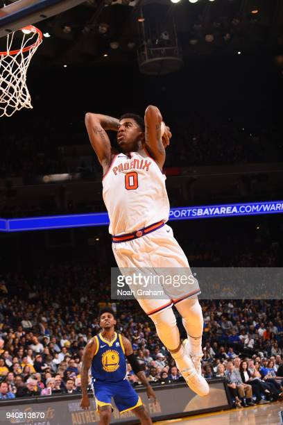 Marquese Chriss of the Phoenix Suns drives to the basket against the Golden State Warriors on April 1 2018 at ORACLE Arena in Oakland California NOTE...