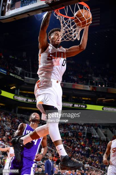 Marquese Chriss of the Phoenix Suns dunks the ball during the game against the Sacramento Kings on March 15 2017 at US Airways Center in Phoenix...