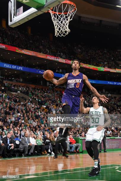 Marquese Chriss of the Phoenix Suns goes to the basket against the Boston Celtics on March 24 2017 at the TD Garden in Boston Massachusetts NOTE TO...