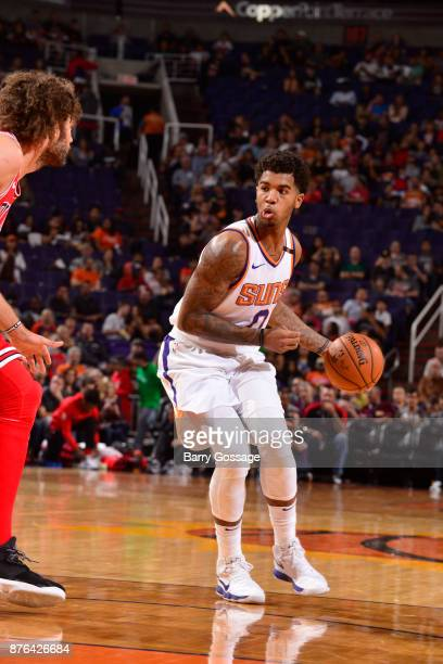 Marquese Chriss of the Phoenix Suns handles the ball against the Chicago Bulls on November 19 2017 at Talking Stick Resort Arena in Phoenix Arizona...