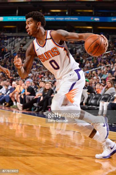 Marquese Chriss of the Phoenix Suns handles the ball against the Milwaukee Bucks on November 22 2017 at Talking Stick Resort Arena in Phoenix Arizona...