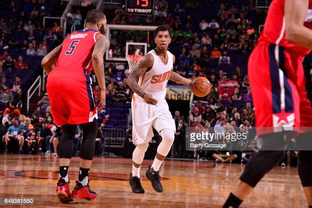 Marquese Chriss of the Phoenix Suns handles the ball against the Washington Wizards during the game on March 7 2017 at Talking Stick Resort Arena in...