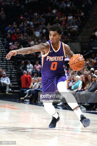 Marquese Chriss of the Phoenix Suns handles the ball against the Utah Jazz on October 6 2017 at vivintSmartHome Arena in Salt Lake City Utah NOTE TO...