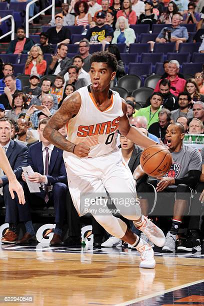 Marquese Chriss of the Phoenix Suns handles the ball during the game against the Brooklyn Nets on November 12 2016 at Talking Stick Resort Arena in...