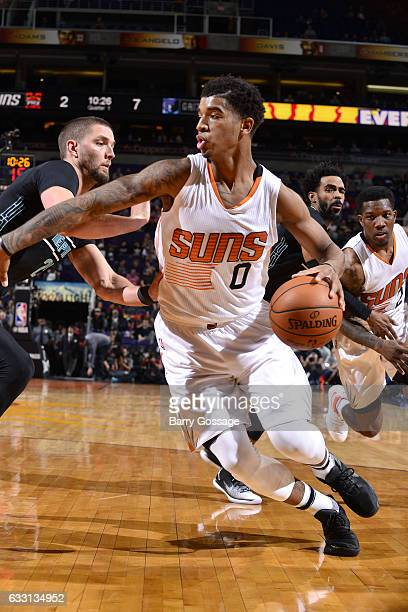 Marquese Chriss of the Phoenix Suns handles the ball during the game against the Memphis Grizzlies on January 30 2017 at US Airways Center in Phoenix...