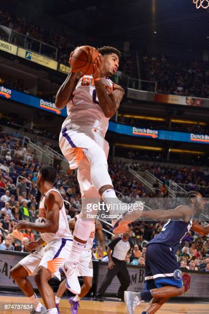Marquese Chriss of the Phoenix Suns handles the ball during the game Minnesota Timberwolves on November 11 2017 at Talking Stick Resort Arena in...