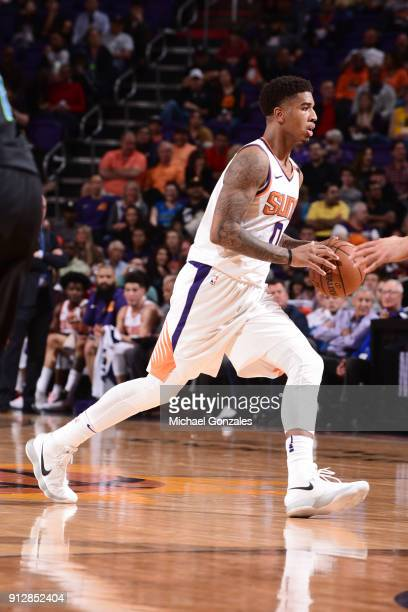 Marquese Chriss of the Phoenix Suns handles the ball during the game against the Dallas Mavericks on January 31 2018 at Talking Stick Resort Arena in...