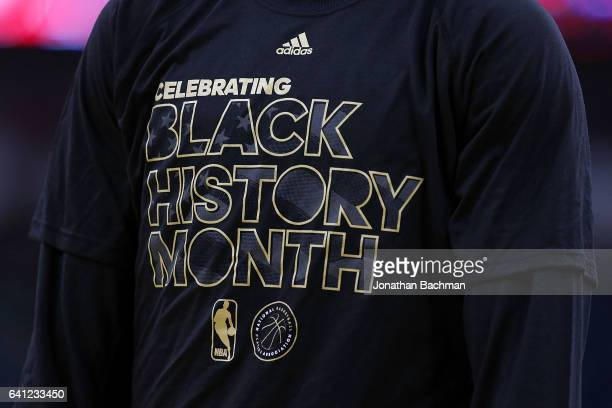 Marquese Chriss of the Phoenix Suns is seen wearing a Black History Month tshirt before a game against the New Orleans Pelicans at the Smoothie King...