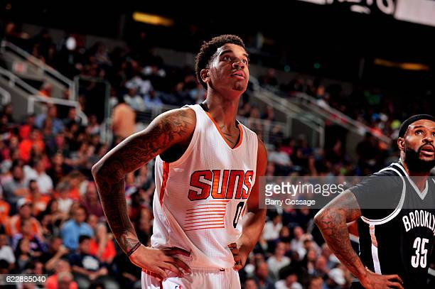 Marquese Chriss of the Phoenix Suns looks on during the game against the Brooklyn Nets on November 12 2016 at Talking Stick Resort Arena in Phoenix...