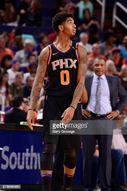 Marquese Chriss of the Phoenix Suns looks on during the game against the New Orleans Pelicans on November 24 2017 at Talking Stick Resort Arena in...