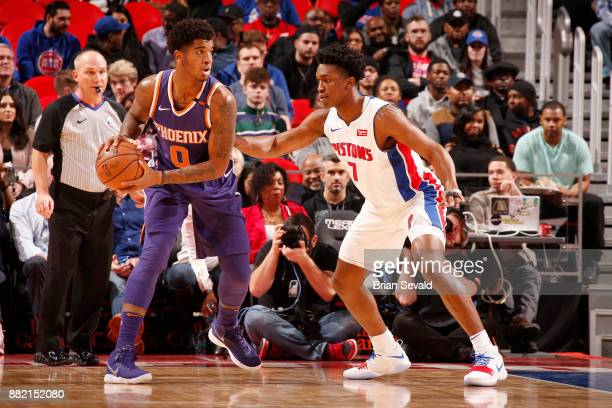 Marquese Chriss of the Phoenix Suns looks to pass the ball against the Detroit Pistons on November 29 2017 at Little Caesars Arena in Detroit...