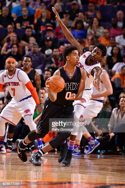 Marquese Chriss of the Phoenix Suns looks to pass the ball during a game against the New York Knicks on December 13 2016 at Talking Stick Resort...