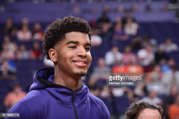 Marquese Chriss of the Phoenix Suns reacts during warmups before the game against the Miami Heat on November 8 2017 at Talking Stick Resort Arena in...