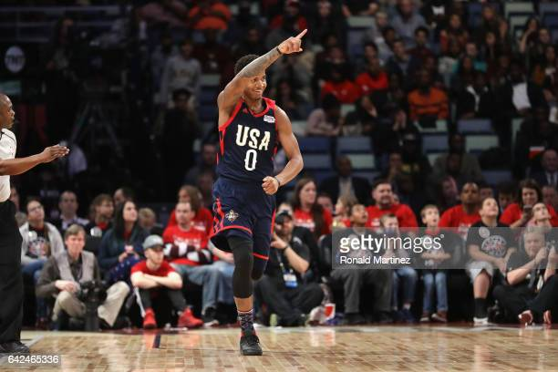 Marquese Chriss of the Phoenix Suns reacts in the first half against the World Team during the 2017 BBVA Compass Rising Stars Challenge at Smoothie...