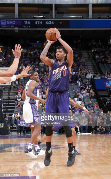 Marquese Chriss of the Phoenix Suns shoots against the Sacramento Kings on April 11 2017 at Golden 1 Center in Sacramento California NOTE TO USER...
