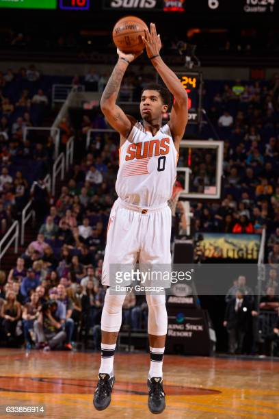 Marquese Chriss of the Phoenix Suns shoots the ball against the Milwaukee Bucks on February 4 2017 at Talking Stick Resort Arena in Phoenix Arizona...