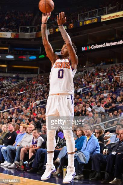 Marquese Chriss of the Phoenix Suns shoots the ball against the Chicago Bulls on November 19 2017 at Talking Stick Resort Arena in Phoenix Arizona...
