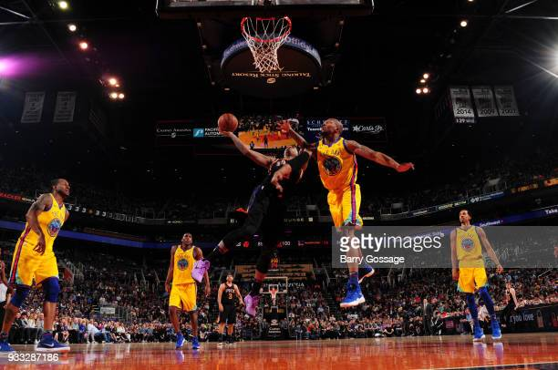 Marquese Chriss of the Phoenix Suns shoots the ball against the Golden State Warriors on March 17 2018 at Talking Stick Resort Arena in Phoenix...