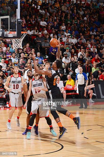 Marquese Chriss of the Phoenix Suns shoots the ball against the Portland Trail Blazers during the 2016 NBA Las Vegas Summer League game on July 9...