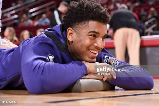 Marquese Chriss of the Phoenix Suns stretches before the game against the Houston Rockets on January 28 2018 at the Toyota Center in Houston Texas...