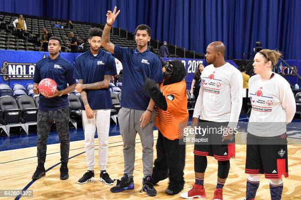 Marquese Chriss of the Phoenix Suns waves to the crowd before the NBA Cares Special Olympics Unified Sports Game as part of 2017 AllStar Weekend at...