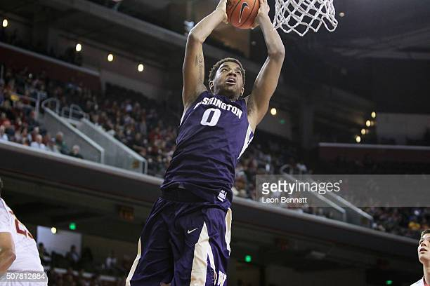 Marquese Chriss of the Washington Huskies goes for a dunk against the USC Trojans during a NCAA college basketball game at Galen Center on January 30...