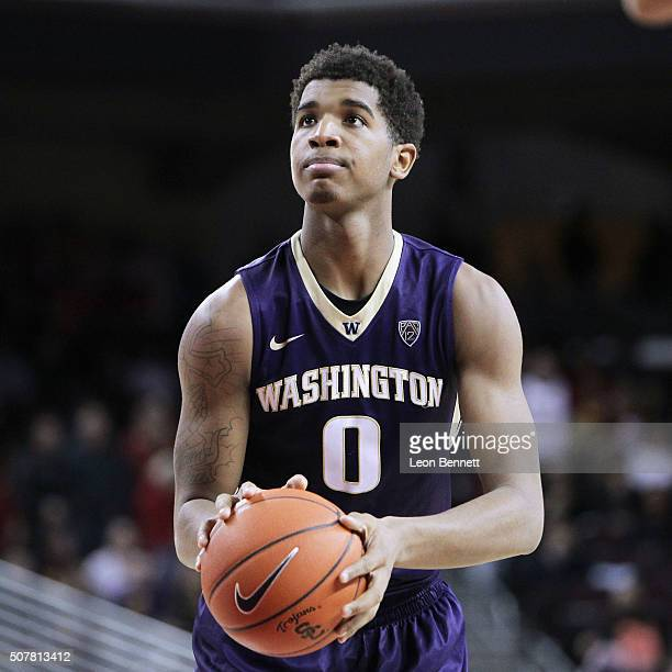 Marquese Chriss of the Washington Huskies shoots free throws against the USC Trojans during a NCAA college basketball game at Galen Center on January...