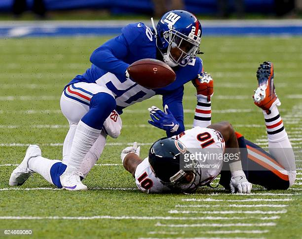 Marquess Wilson of the Chicago Bears breaks up a pass intended for Janoris Jenkins of the New York Giants during their game at MetLife Stadium on...