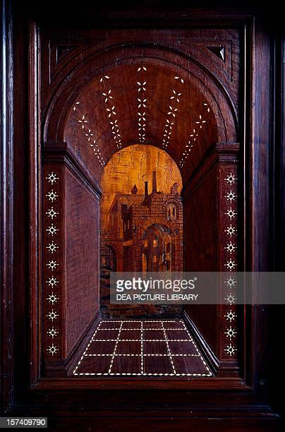 Marquetry depicting a perspective view of a building wooden choir of the Church of Saint Fidelis of Como Milan Italy 16th century
