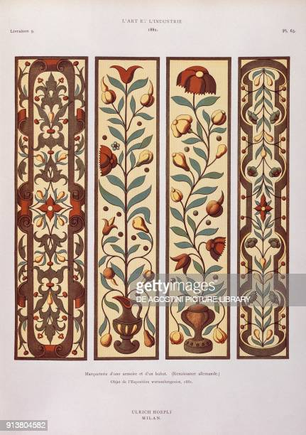 Marquetry inlay of a wardrobe illustration from L'art et l'industrie publisher Ulrico Hoepli Wurttemberg Germany 19th century