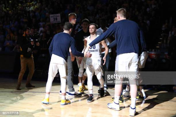 Marquette Golden Eagles guard Andrew Rowsey is introduced as a starter during a game between the Marquette Golden Eagles and the Creighton Blue Jays...
