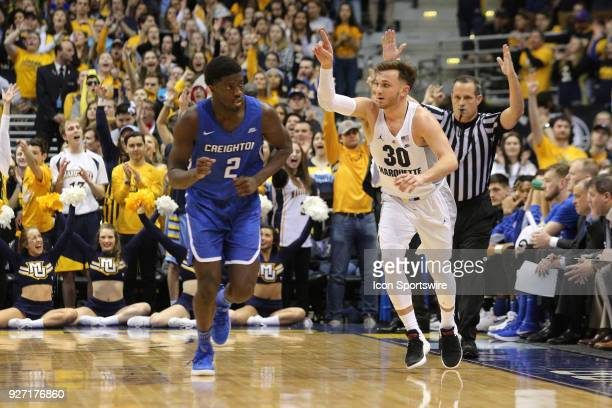 Marquette Golden Eagles guard Andrew Rowsey reacts after making a three pointer during a game between the Marquette Golden Eagles and the Creighton...