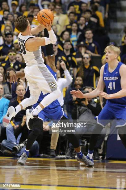 Marquette Golden Eagles guard Andrew Rowsey takes an off balance shot during a game between the Marquette Golden Eagles and the Creighton Blue Jays...