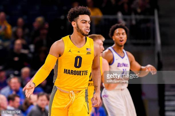 Marquette Golden Eagles guard Markus Howard celebrates his three point shot during a game between the Marquette Golden Eagles and the DePaul Blue...