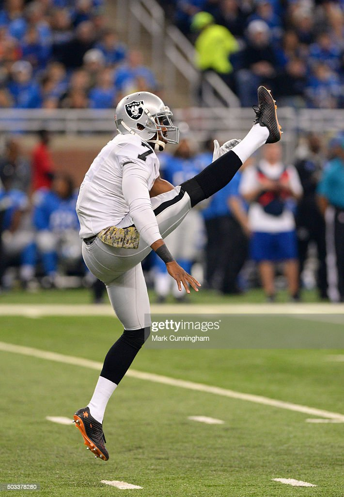 Marquette King #7 of the Oakland Raiders punts the football during the game against the Detroit Lions at Ford Field on November 22, 2015 in Detroit, Michigan. The Lions defeated the Raiders 18-13.