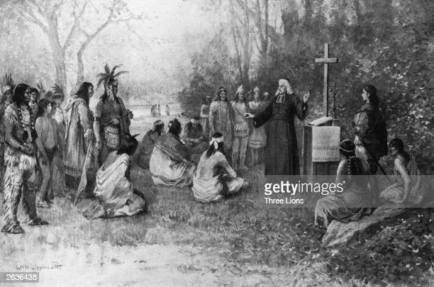 'Marquette preaching to the Indians' by William Lippincott depicting Jesuit missionary Jacques Marquette also known as Pere Marquette preaching to...