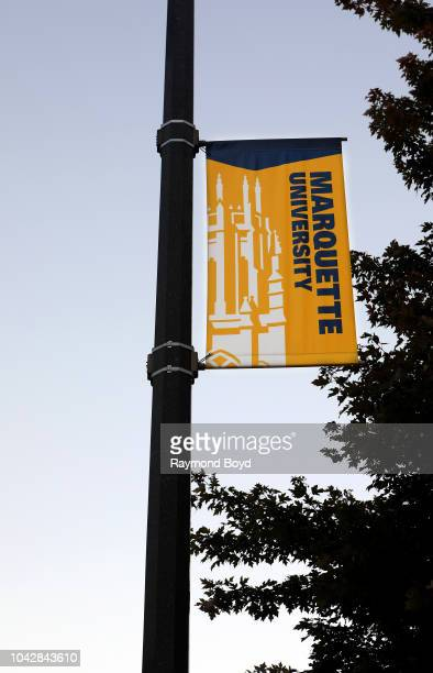 Marquette University banner hangs at Marquette University in Milwaukee Wisconsin on September 14 2018